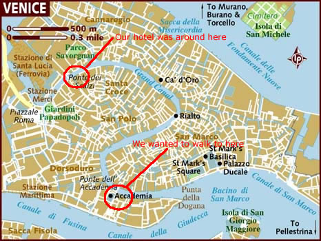 Venice map showing hotel and Accademia Art Gallery