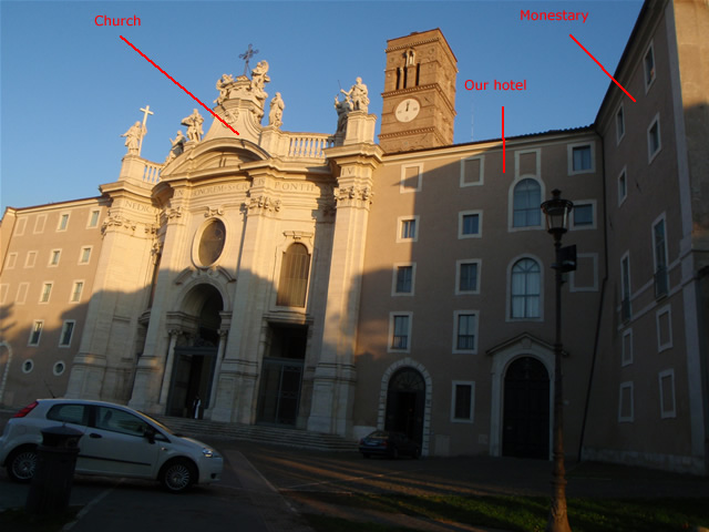 Church, hotel, and monestery