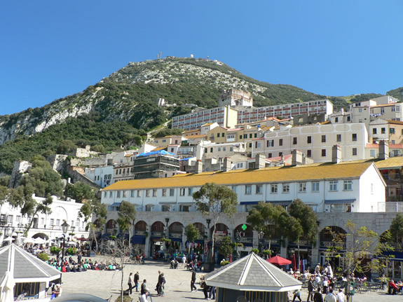Beach and town of Gibraltar