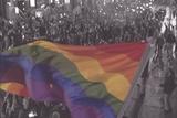 Rainbow flag in crowd